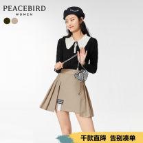 skirt Spring 2021 S M L XL Short skirt High waist Pleated skirt 25-29 years old More than 95% Peacebird cotton Cotton 100%