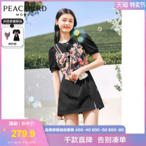 Dress Summer 2021 Black full size expected to be black on April 27 (pre-sale 2) S M L Short skirt Short sleeve Crew neck High waist Socket A-line skirt puff sleeve 25-29 years old Type H Peacebird printing AWFAB2288 More than 95% other Other 100% Pure e-commerce (online only)