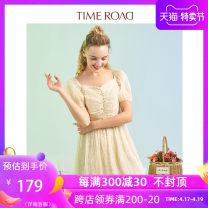 Dress Summer 2020 Apricot light pink light green S/160 M/165 L/170 Short skirt singleton  Short sleeve commute square neck High waist Solid color Socket A-line skirt puff sleeve 18-24 years old Time road / Domino T23233193065X 51% (inclusive) - 70% (inclusive) polyester fiber