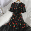 Dress Spring 2021 Black, pink M, L longuette singleton  Short sleeve Sweet V-neck High waist other Socket Ruffle Skirt puff sleeve 18-24 years old Type A Bow, ruffle, Auricularia auricula, lace 81% (inclusive) - 90% (inclusive) college