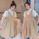 Dress Other / other Khaki suit M,L,XL,XXL Korean version Short sleeve Medium length summer