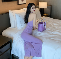 Dress Summer 2020 Light purple, black S, M longuette singleton  Sleeveless commute square neck High waist Solid color One pace skirt Hanging neck style 18-24 years old Type H Ezrin Korean version Open back, lace up gAsMu 81% (inclusive) - 90% (inclusive) brocade cotton