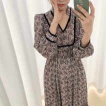 Dress Autumn 2020 Graph color Average size longuette singleton  Long sleeves commute V-neck High waist Broken flowers Socket other puff sleeve Others 18-24 years old Type A Ezrin Korean version WSxhZ 31% (inclusive) - 50% (inclusive) other other