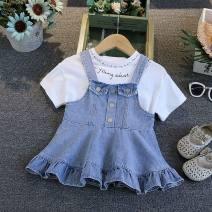 Dress blue female Other / other Cotton 100% summer Korean version Skirt / vest Solid color Cotton denim other 12 months, 9 months, 18 months, 2 years, 3 years, 4 years