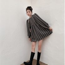 Dress Autumn 2020 Grey super good fabric in stock Average size Middle-skirt singleton  Long sleeves commute Crew neck Loose waist houndstooth  zipper other routine Others 18-24 years old Type A zipper 71% (inclusive) - 80% (inclusive) cotton