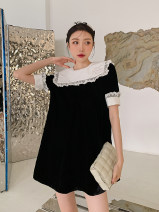 Dress Spring 2021 black S,M,L singleton  Short sleeve commute High waist 18-24 years old Korean version