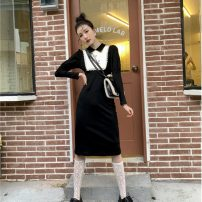 Dress Winter 2020 black S,M,L longuette singleton  Long sleeves commute Polo collar High waist Solid color Socket A-line skirt routine 25-29 years old Type A Splicing polyester fiber