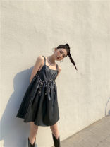 Dress Spring 2021 Black, white shirt S,M,L Short skirt singleton  Sleeveless commute One word collar High waist Solid color Socket A-line skirt routine camisole Type A backless polyester fiber