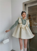 Dress Spring 2021 White eyes closed - stock S,M,L Short skirt singleton  Long sleeves Sweet Crew neck High waist Solid color A-line skirt routine Type A Splicing polyester fiber