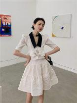 Fashion suit Summer 2021 XS,S,M,L Off white coat, off white skirt, black coat, black skirt Other / other 96% and above polyester fiber