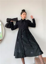 Dress Spring 2021 black S,M,L longuette singleton  Long sleeves commute Polo collar High waist Solid color Single breasted A-line skirt routine 25-29 years old Type A Button polyester fiber