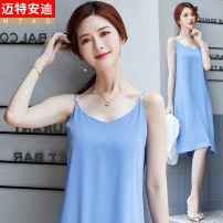 Dress Summer 2020 S M L XL 2XL Mid length dress singleton  Sleeveless commute V-neck Solid color other camisole 25-29 years old Mrtteadis / Andy Mette Korean version Three dimensional decoration 81% (inclusive) - 90% (inclusive) cotton Cotton 90.3% polyurethane elastic fiber (spandex) 9.7%