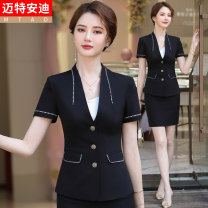 Professional dress suit S M L XL XXL XXXL XXXXL Blue (short sleeve suit) blue (short sleeve suit + skirt) black (short sleeve suit) black (short sleeve suit + skirt) Summer 2021 GA6139KJUY698CH Coat other styles 25-35 years old Mrtteadis / Andy Mette Pure e-commerce (online only) 96% and above