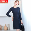 Dress Summer 2021 S M L XL 2XL 3XL 4XL Middle-skirt singleton  Long sleeves commute Crew neck middle-waisted Solid color zipper A-line skirt routine 25-29 years old Type A Mrtteadis / Andy Mette Korean version fold 91% (inclusive) - 95% (inclusive) polyester fiber Pure e-commerce (online only)