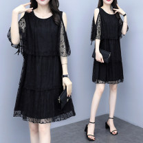 Women's large Summer 2021 black XL [100-120 Jin recommended], 2XL [120-140 Jin recommended], 3XL [140-160 Jin recommended], 4XL [160-180 Jin recommended], 5XL [180-200 Jin recommended] Dress singleton  commute easy moderate Socket Short sleeve Korean version Crew neck Medium length other routine