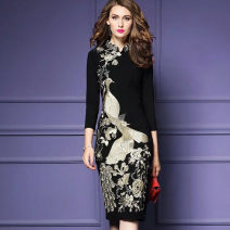Dress Fall 2017 black S,M,L,XL,2XL,3XL,4XL singleton  three quarter sleeve commute stand collar middle-waisted Decor Socket One pace skirt routine Others 35-39 years old Type H Other / other Retro Ruffle, flocking, embroidery, stitching, tying, resin fixation, 3D, printing brocade cotton