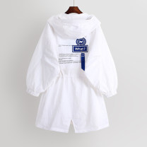 Windbreaker Spring 2021 S,M,L white Long sleeves Thin money Medium length commute zipper Hood routine letter Straight cylinder Korean version 18-24 years old 96% and above