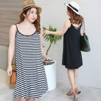 Dress Summer of 2018 Black, striped XL,2XL,3XL,4XL Mid length dress singleton  commute Crew neck middle-waisted stripe Socket other camisole 25-29 years old Korean version other