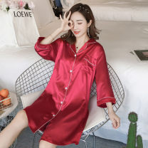 Nightdress Other / other M (80-100kg), l (100-115kg), XL (115-130kg), XXL (130-150kg), 3XL (150-170kg), 4XL (170-190kg), 5XL (190-210kg) Simplicity three quarter sleeve pajamas Middle-skirt summer Solid color youth Small lapel Iced silk printing 81% (inclusive) - 95% (inclusive) Seldingham