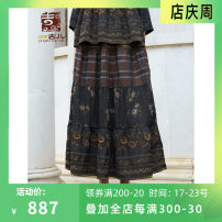 skirt Autumn 2020 S M L XL Brown longuette commute High waist 30-34 years old G203Q002 51% (inclusive) - 70% (inclusive) Jiqiu Gul polyester fiber Pleated stitching printing Retro Polyester 60.2% viscose 39.8% Same model in shopping mall (sold online and offline)