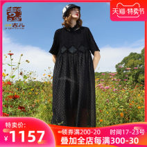 Dress Spring 2021 black S M L XL longuette singleton  Short sleeve commute Crew neck Loose waist Dot Socket A-line skirt routine 25-29 years old Type A Jiqiu Gul Cut out embroidery stitching G212Y023 More than 95% polyester fiber Polyester 100% Same model in shopping mall (sold online and offline)