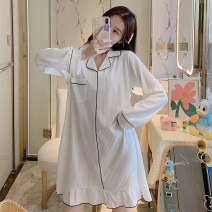 Nightdress Other / other 160 (m), 165 (L), 170 (XL), 175 (XXL), small gift from collection shop, 2 yuan discount for two pieces Sweet Long sleeves Leisure home autumn Solid color youth Small lapel cotton printing More than 95% pure cotton YSD_ nine hundred and ninety-five