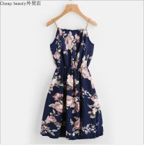 Dress Summer of 2018 Picture color S,M,L,XL,2XL,3XL,4XL,5XL Middle-skirt Short sleeve Sweet Crew neck other camisole Other