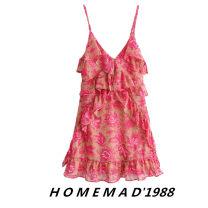 Dress Summer of 2019 S,M,L Short skirt singleton  commute camisole Retro printing
