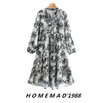 Dress Autumn 2020 XS,S,M,L Mid length dress Long sleeves street V-neck Loose waist Decor Socket Ruffle Skirt other 31% (inclusive) - 50% (inclusive) other Cellulose acetate Europe and America
