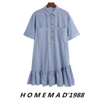 Dress Summer 2021 XS,S,M,L Short skirt singleton  Short sleeve street Polo collar Elastic waist stripe Socket Ruffle Skirt other 31% (inclusive) - 50% (inclusive) other Cellulose acetate Europe and America
