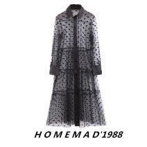 Dress Summer of 2019 Black 2109, white 1971 S,M,L Mid length dress singleton  Long sleeves street Polo collar Loose waist Decor Single breasted A-line skirt other Others Europe and America