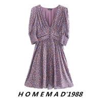 Dress Autumn 2020 Purple, black flowers XS,S,M,L Short skirt singleton  Short sleeve commute V-neck middle-waisted Decor Socket other puff sleeve Retro 31% (inclusive) - 50% (inclusive) Cellulose acetate