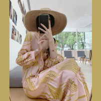 """Dress Summer 2020 Picture color, """"high end version with pocket"""" S, M longuette singleton  Nine point sleeve commute V-neck High waist Abstract pattern Socket Big swing puff sleeve 25-29 years old Type A"""