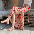 skirt Summer 2021 Average size (less than 85-130 kg) Apricot flower, carmine, red yellow flower, black yellow flower longuette commute High waist skirt Decor Type A 18-24 years old 91% (inclusive) - 95% (inclusive) Chiffon Other / other other Bowknot, lace up, asymmetric, bandage, stitching, printing