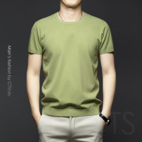 T-shirt Fashion City Dark blue, light green routine M,L,XL,2XL,3XL,4XL,5XL Others Short sleeve Crew neck Super slim Other leisure summer youth routine Business Casual 2021 Solid color cotton No iron treatment 90% (inclusive) - 95% (inclusive)