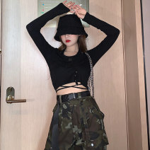 Fashion suit Autumn 2020 S,M,L Black top, camouflage overalls 18-25 years old 96% and above cotton