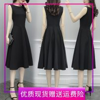 Dress Summer 2021 black S,M,L,XL,2XL,3XL Mid length dress singleton  Sleeveless commute Crew neck High waist Solid color Socket Big swing other Others 18-24 years old Type A Korean version Chain, zipper