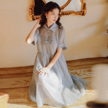 Dress Summer 2021 grey S,M,L,XL,2XL Mid length dress Two piece set Short sleeve commute Polo collar High waist Solid color Socket Princess Dress routine Others Type H Korean version Resin fixation More than 95% Chiffon other