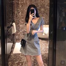 Dress Summer of 2018 black S M L XL Short skirt singleton  Short sleeve commute V-neck High waist lattice Socket A-line skirt other camisole Type A Korean version Splicing eight thousand four hundred and eighty-four