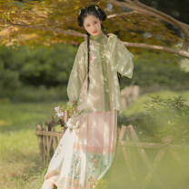Hanfu 31% (inclusive) - 50% (inclusive) Autumn 2020 The third batch of light onion green collar shirts was issued around 3.30, and the third batch of heavy industry embroidery narrow horse face was issued around 3.30 S,M,L,XL,S1 polyester fiber