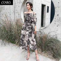 Dress Summer of 2019 Decor S M L XL longuette singleton  elbow sleeve commute One word collar High waist Decor Socket Big swing routine 25-29 years old Cabo Korean version More than 95% Chiffon polyester fiber Polyester 100% Pure e-commerce (online only)