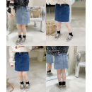 skirt 80cm, 90cm, 100cm, 120cm, 130cm, 140cm, 150cm, 110cm (model size) Dark blue , Light blue , The second batch of dark blue , Second batch of light blue No.7 Tong Cang female Other 100% spring and autumn skirt literature Solid color Denim skirt SKA2172
