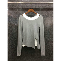 T-shirt Gray, black S,M,L Autumn 2020 Long sleeves Crew neck Straight cylinder Regular routine street cotton 51% (inclusive) - 70% (inclusive) 25-29 years old Sports & Leisure