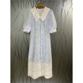 Dress Summer 2021 blue S,M,L longuette singleton  Long sleeves commute Doll Collar Loose waist Decor Socket A-line skirt puff sleeve Others 25-29 years old Type A lady More than 95% cotton