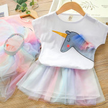 suit Zhou dada White, pink, pink sequins, white sequins 90cm,100cm,110cm,120cm,130cm female summer leisure time Short sleeve + skirt 2 pieces routine No model Socket nothing other other X010 Class B Other 100% 2 years old, 3 years old, 4 years old, 5 years old, 6 years old Chinese Mainland