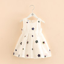 Dress white female Zhou dada 90cm,100cm,110cm,120cm,130cm,140cm Other 100% summer princess Skirt / vest Broken flowers other Splicing style Class B 18 months, 2 years old, 3 years old, 4 years old, 5 years old, 6 years old