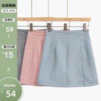 skirt Summer 2021 S,M,L,XL Black skirt, blue skirt, pink skirt Short skirt commute High waist A-line skirt lattice Type A 25-29 years old 2104A-0700 More than 95% other Other / other other Korean version