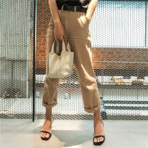 Jeans Summer 2021 khaki 25,26,27,28,29,30 trousers Natural waist Straight pants routine Cotton denim light colour D17LZ006 Tang Town 96% and above