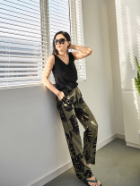 Casual pants Bean green 25,26,27,28,29,30 Summer 2021 trousers Straight pants Natural waist street routine 96% and above Tang Town silk silk Europe and America