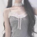 Dress Spring of 2019 Black and white S, M singleton  Sleeveless lattice camisole petite fifi 51% (inclusive) - 70% (inclusive) cotton